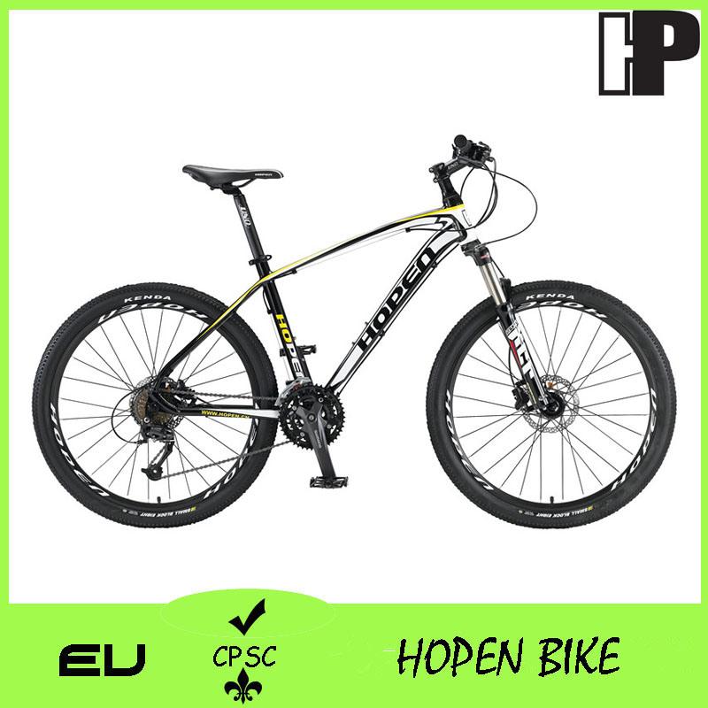 """26"""" 27sp Popular Alloy Mountain Bicyle, White+Yellow, Mountain Bike"""