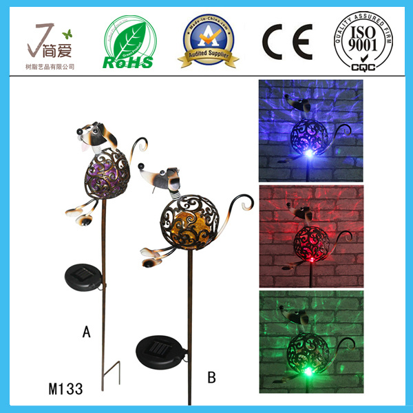 Dog Solar Iron Arts and Crafts for Garden Decoration