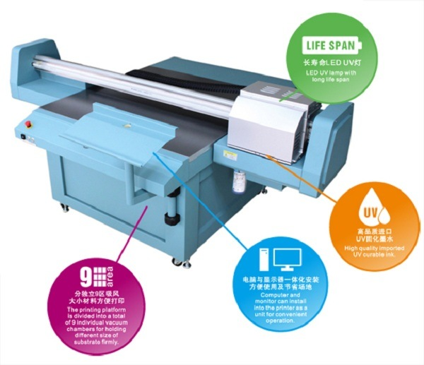 Universal Digital UV Flatbed Printer with Epson Dx5 Inkjet Printhead (1.3m*1.2m or 2.5m*1.2m for Decoration, Industry and Signage)