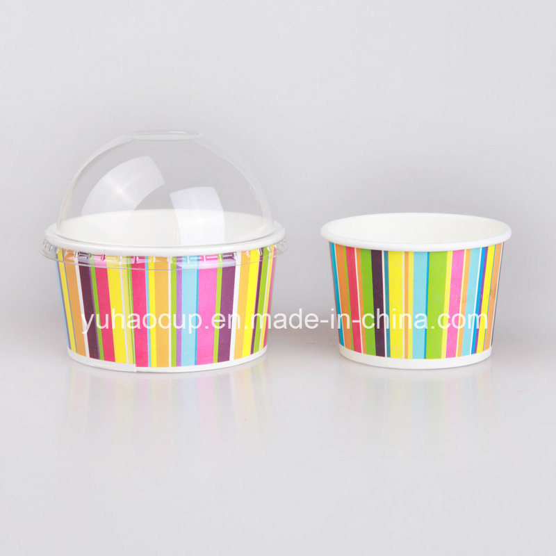 3 4 5 6 8 12 16 20 24 32oz Custom Logo Printed Paper Ice Cream Frozen Yogurt Cups with Lids Spoons