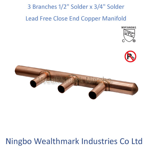"""Lead Free 3 Branches 1/2"""" Solder X 3/4"""" Solder Close End Copper Manifold"""