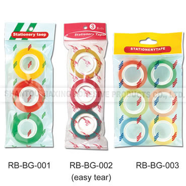 Plastic Core 3 Colores Stationery Tape in Clear Bag