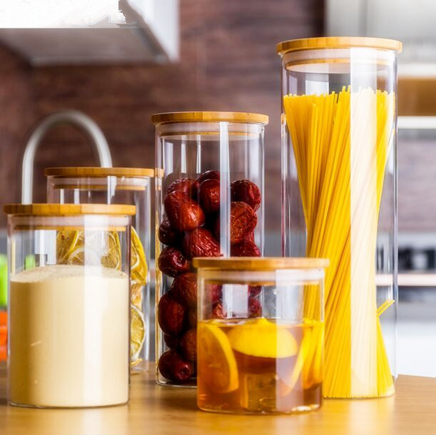 400ml Bamboo Lid Borosilicate Glass Food Storage Jar