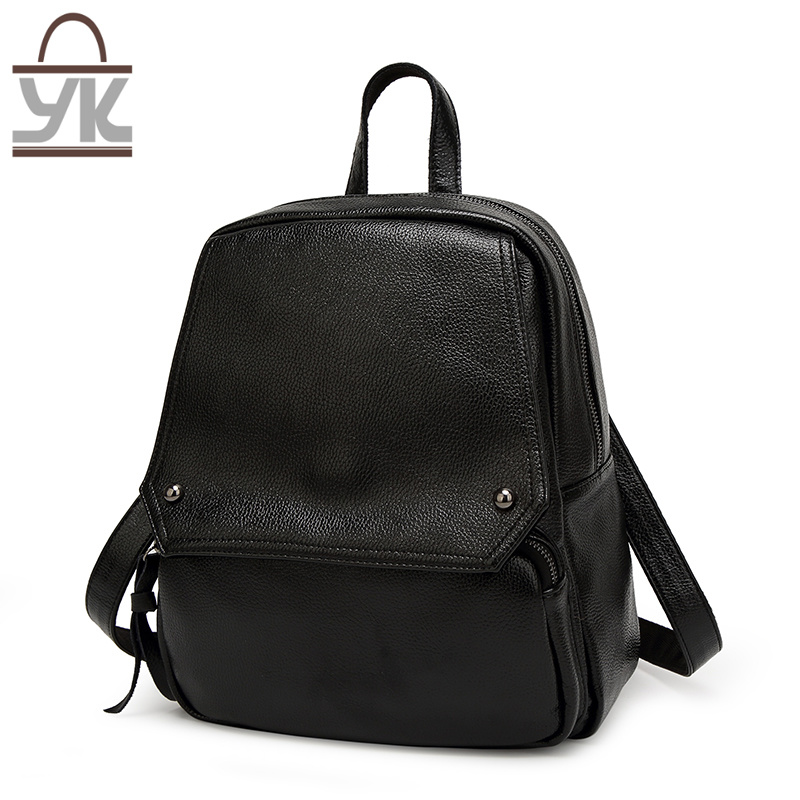 Fashion Super Capacity Black PU Leather Lady Backpack