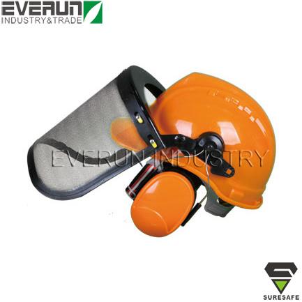 Protection Earmuff Mesh Visor Safety Helmet Set