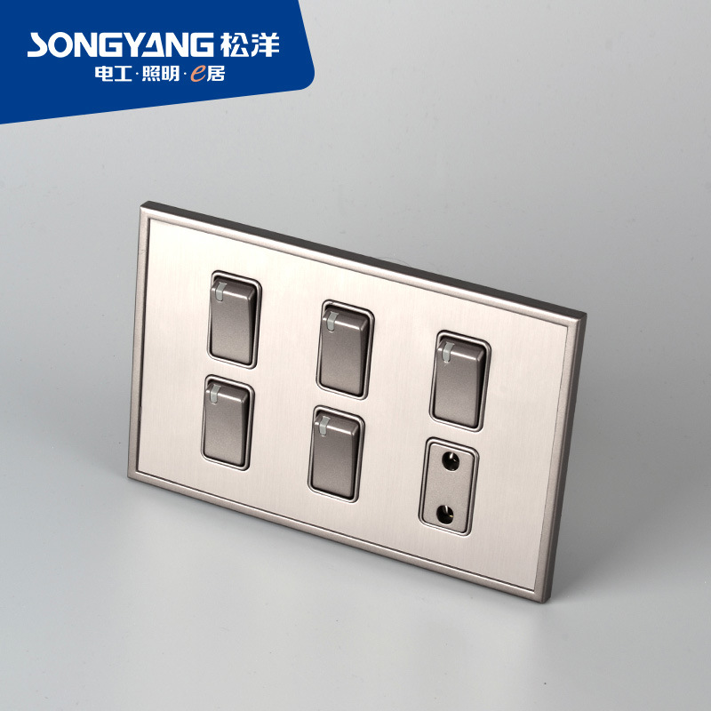 Stainless Steel Series 5gang+1socket Switch