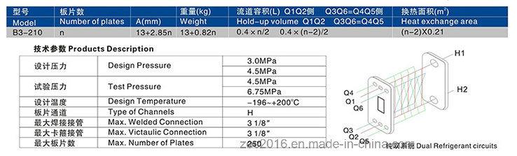 R410A, R22 Refrigerant Heat Exchanger B3-210-10 Plates