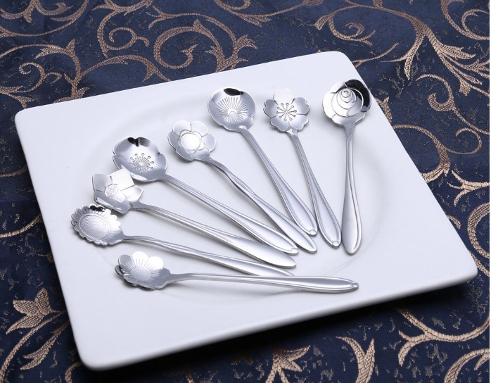 410 Stainless Steel Flower Coffee Mixing Spoon