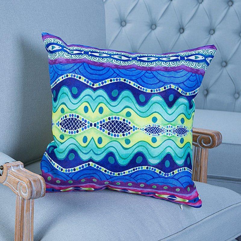 Digital Print Decorative Cushion/Pillow with Ikat Geometric Pattern (MX-36)