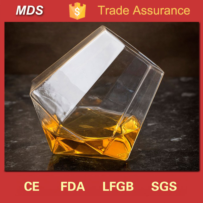 Diamond Shaped Slanted-Bottom Whisky Glass