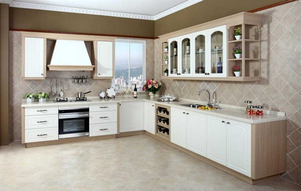 China White American Antique Style Kitchen Furniture Soild Wood Cabinets Cupboards