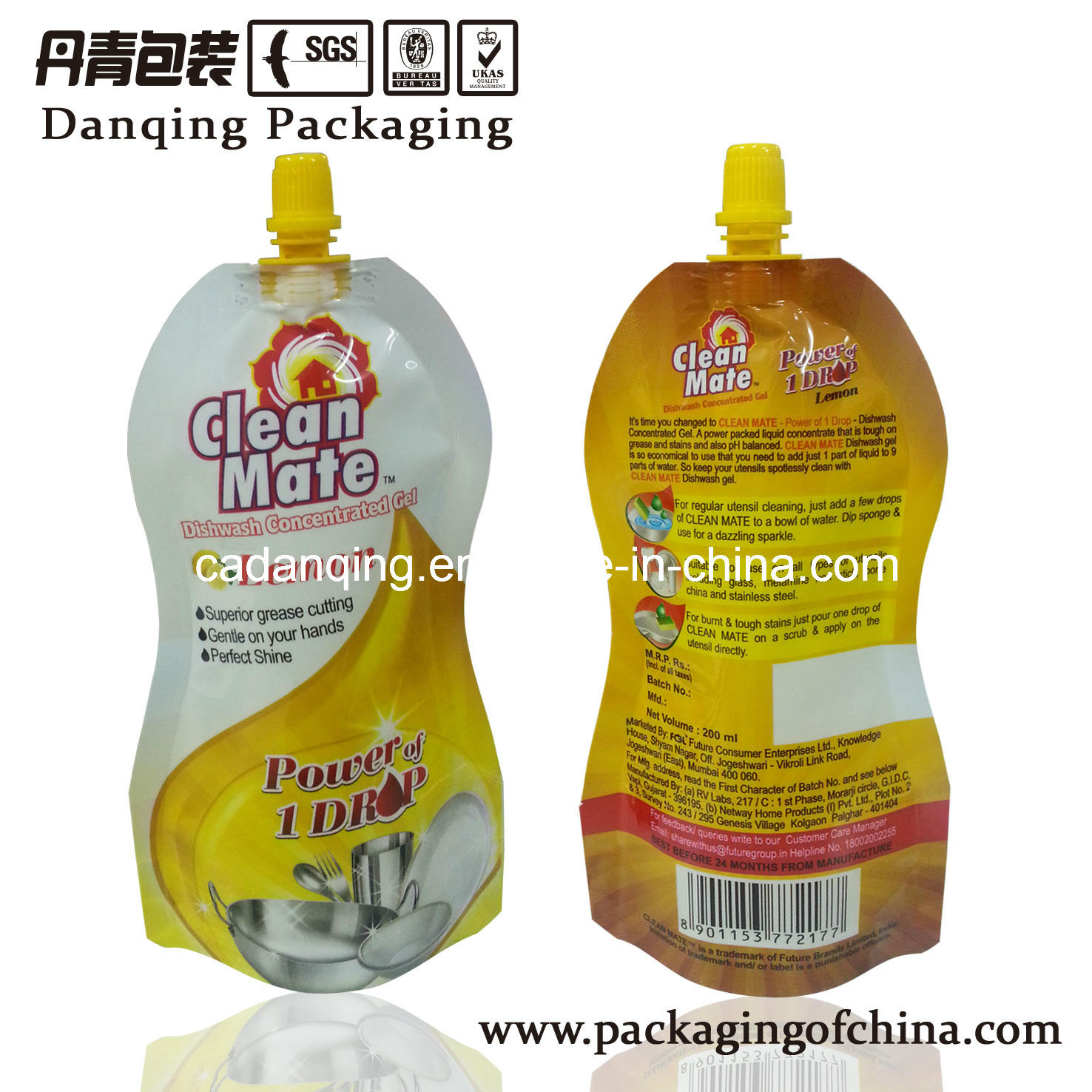 Plastic Packaging Detergent Stand up Pouch with Spout (DQ0017)