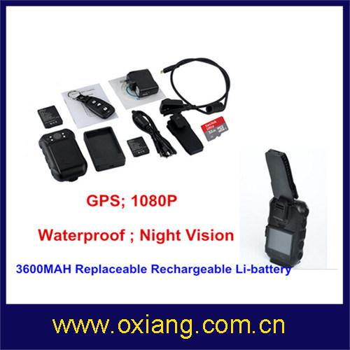 3600 mAh Battery Police Body Worn DVR 1080P with IR