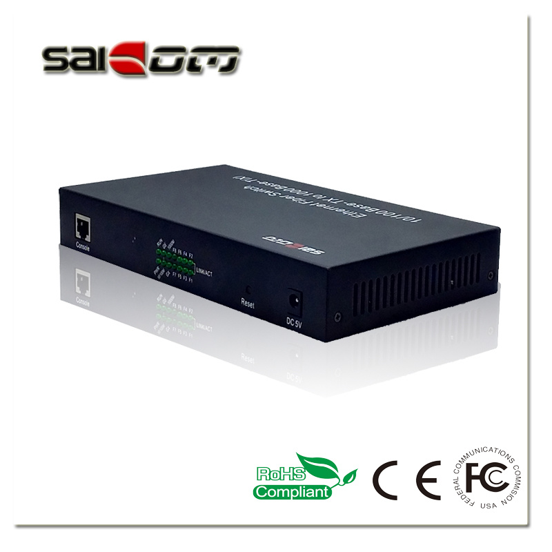 100/1000Mbps 1GX/1GE/8FE Ports Fast Ethernet Switch Media Converter
