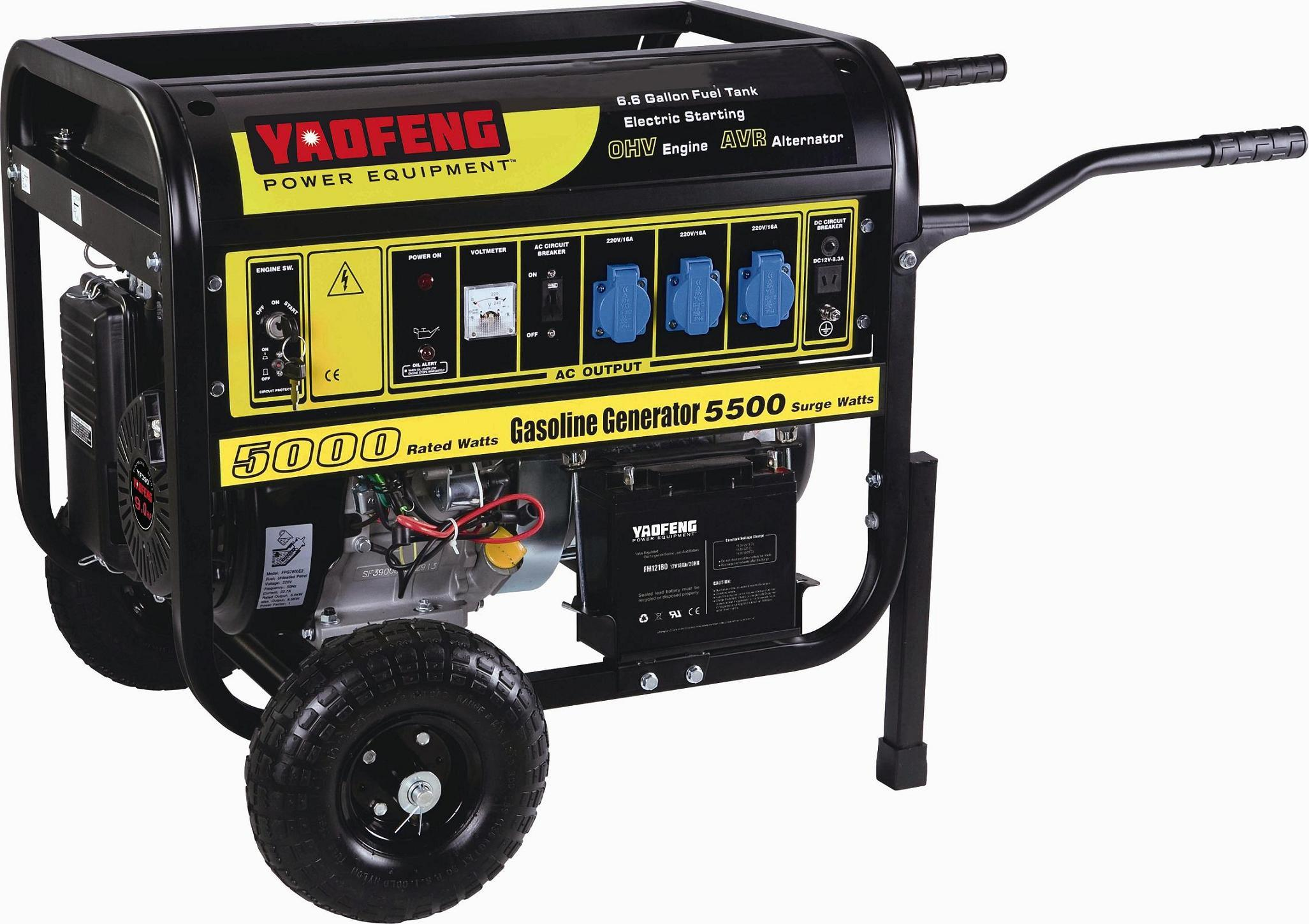 5000 Watts Electric Power Gasoline Generator with EPA, Carb, CE, Soncap Certificate (YFGF6500E2)