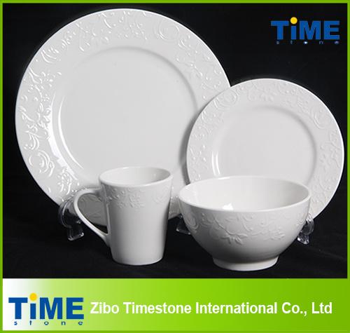 Royal Fine Ceramic Porcelain White Embossed Dinnerware Set