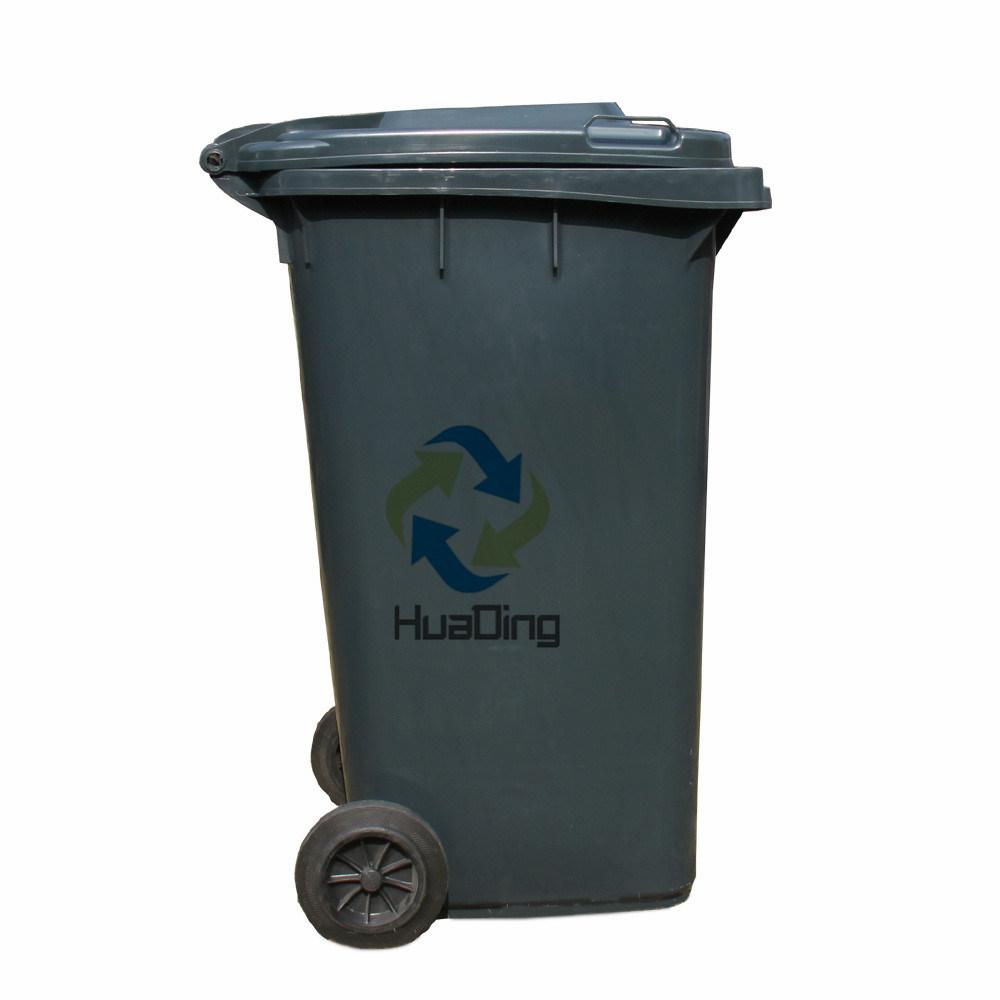 240L Plastic Garbage Bin Rubber Wheel for Outdoor