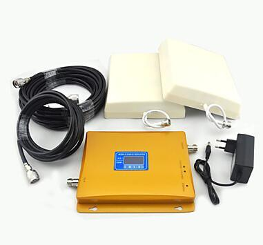 LCD Display 3G W-CDMA 2100MHz UMTS 2g GSM 900MHz Signal Booster Cell Phone Signal Repeater with Panel Antenna