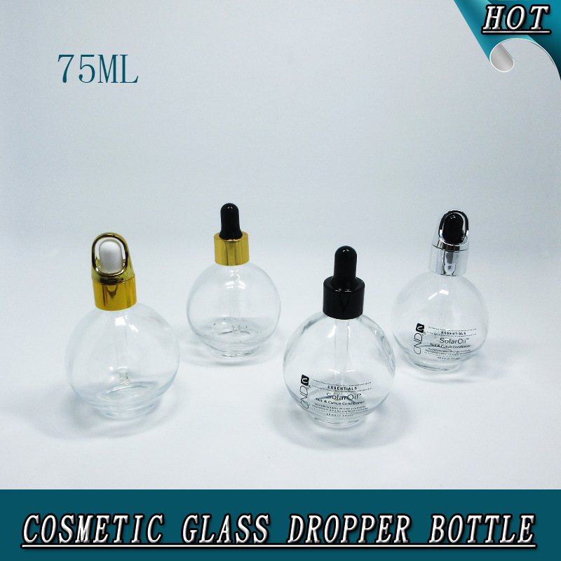 75ml Clear Cosmetic Glass Dropper Bottle 2.5 Oz Round Glass Bottle