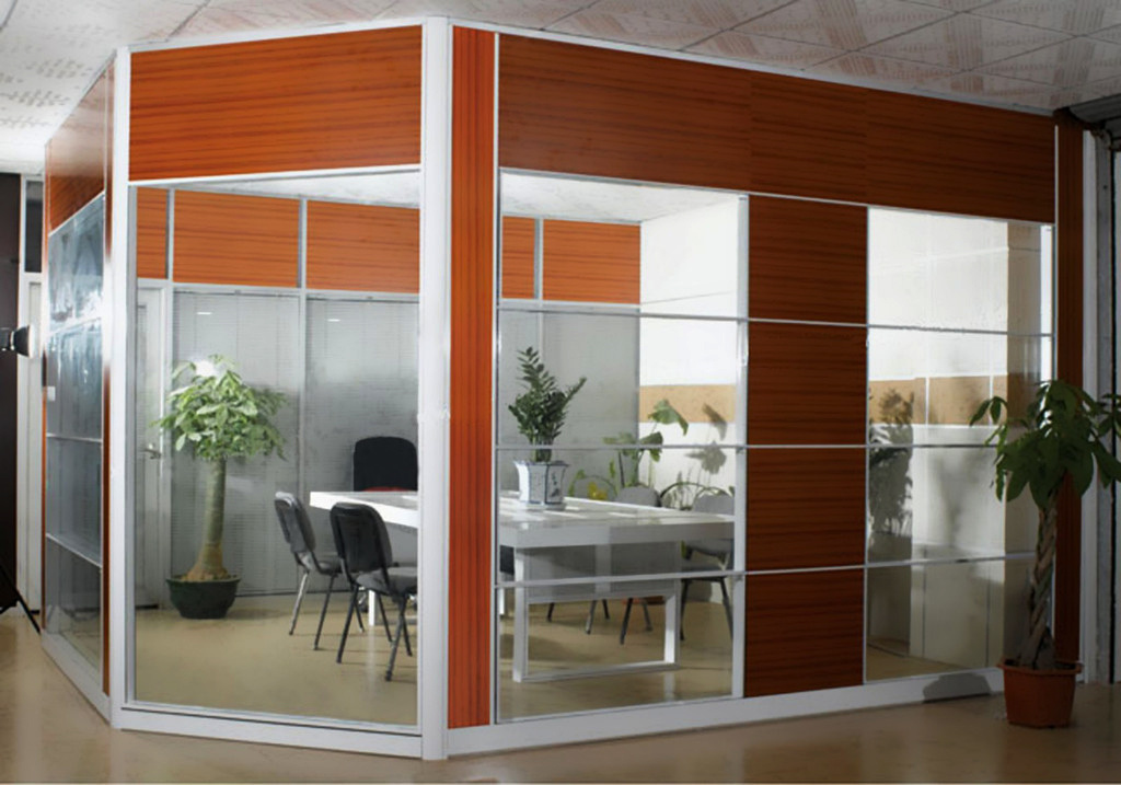 Modern Office Wooden Aluminum Glass Partition Wall (NS-NW308)