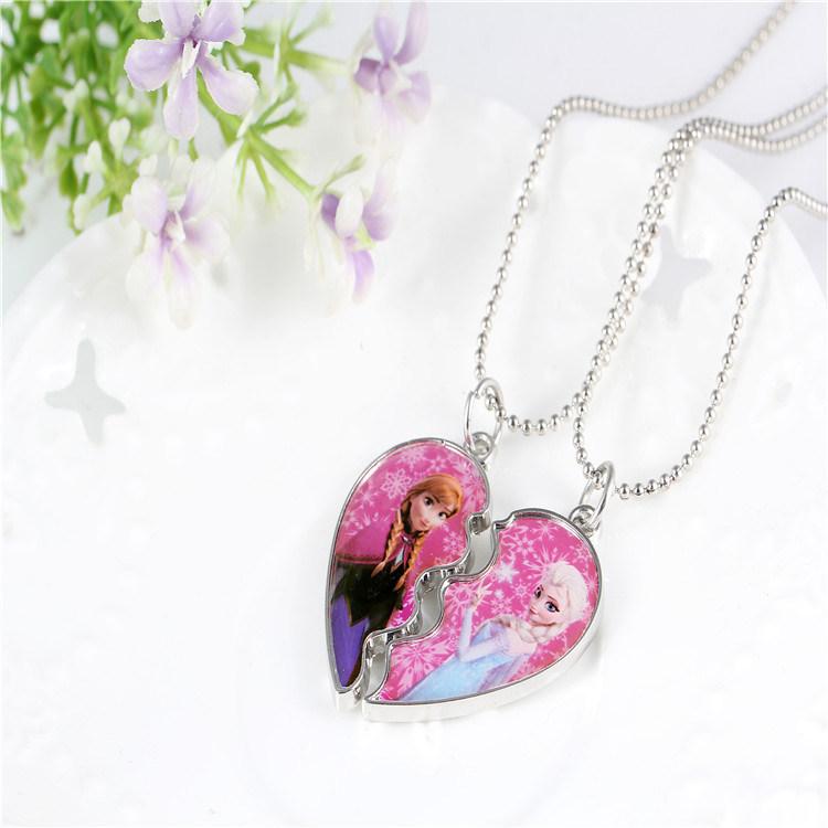 Promotional Jewelry -Frozen Broken Heart Best Friends Necklace Split Epoxy Logo Pendant Necklace