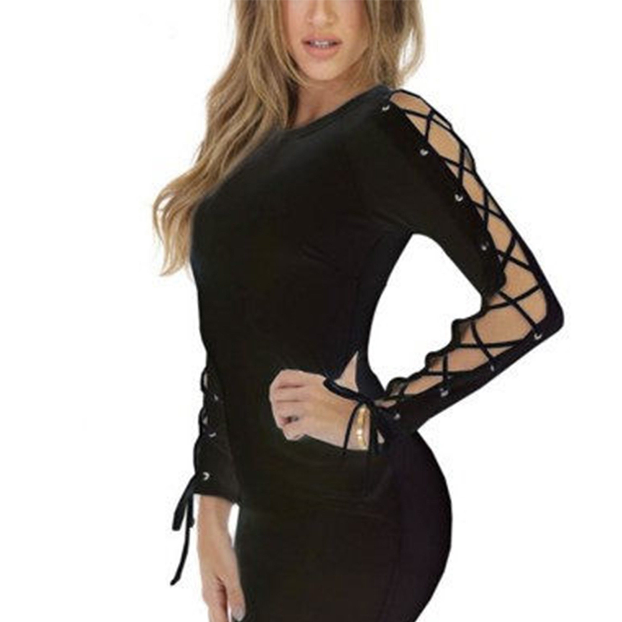 Ladies Fashion Sexy Slim Long Sleeves Hollow Bandage Dress