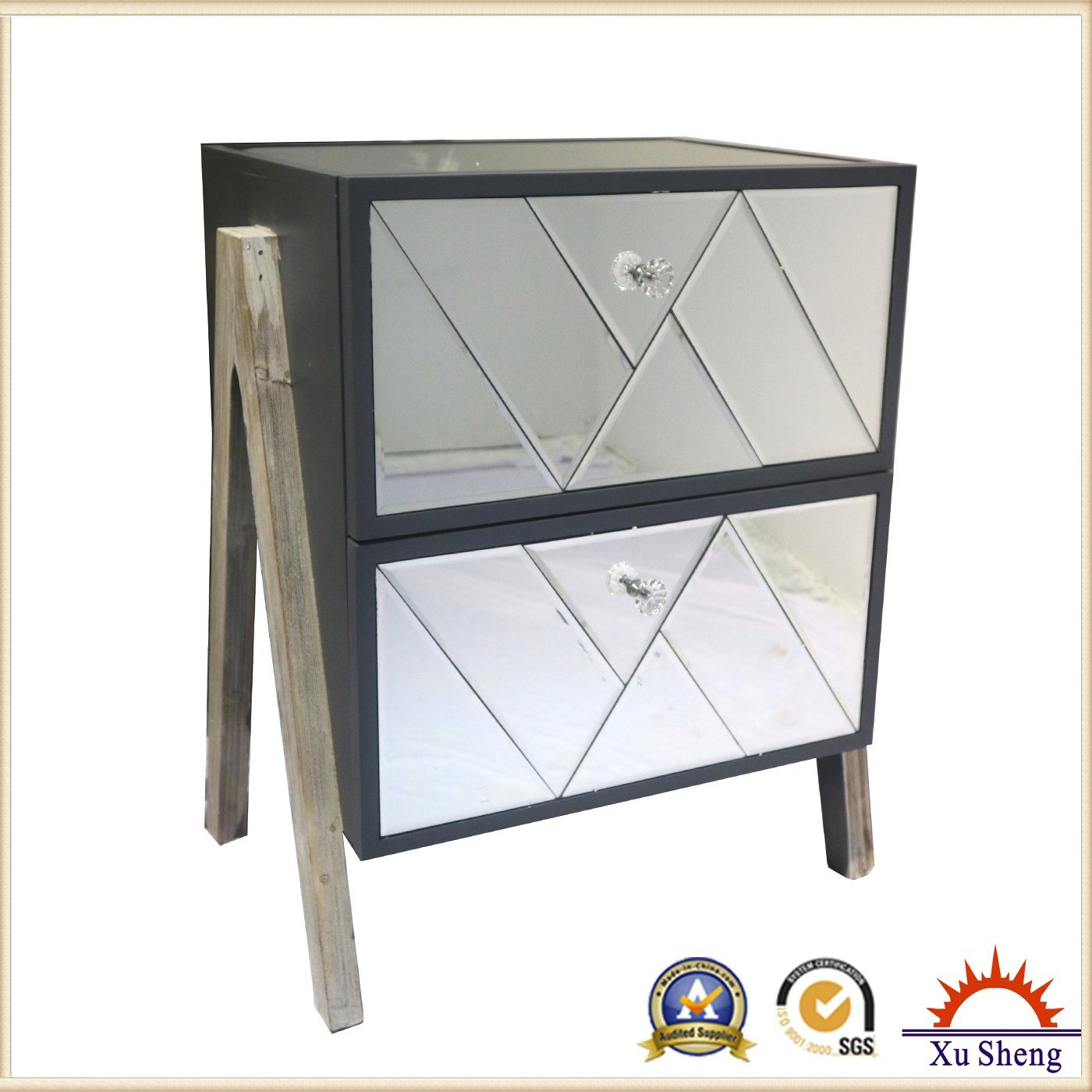 Side End Table Nightstand Chest Bedroom Living Room Table with 2 Drawers