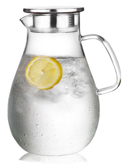 2000ml Water Pitcher with Stainless Steel Lid and Glass Handle Borosilicate Glass Handmade and Mouthblown