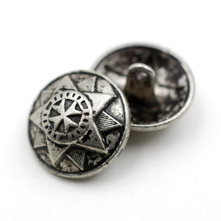 Vintage Blazer Button Antique Silver Metal Alloy Shank Button