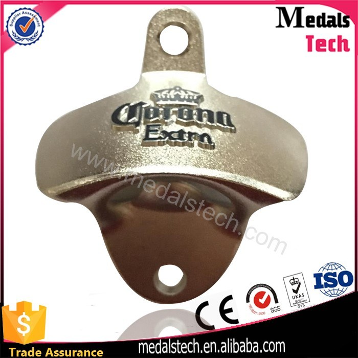 High Quanity Zinc Alloy 3D Logo Metal Wall Bottle Opener with Screws