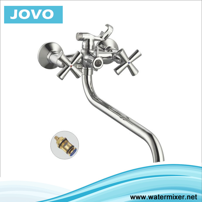 "Double ""+"" Handle Hot Sale Bath-Shower Faucet Jv 74403"