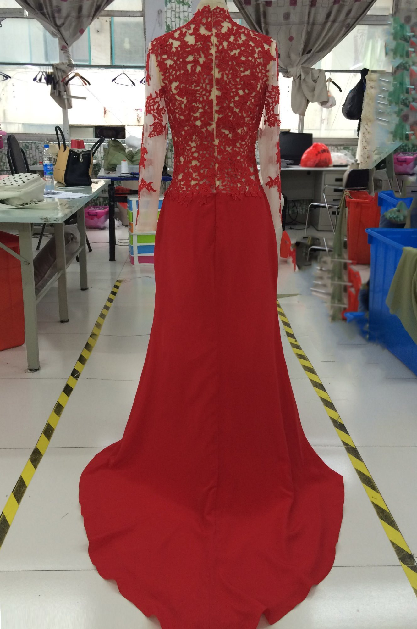 Aoliweiya Satin/Lace Ceremonial Clothing Evening Prom Dress