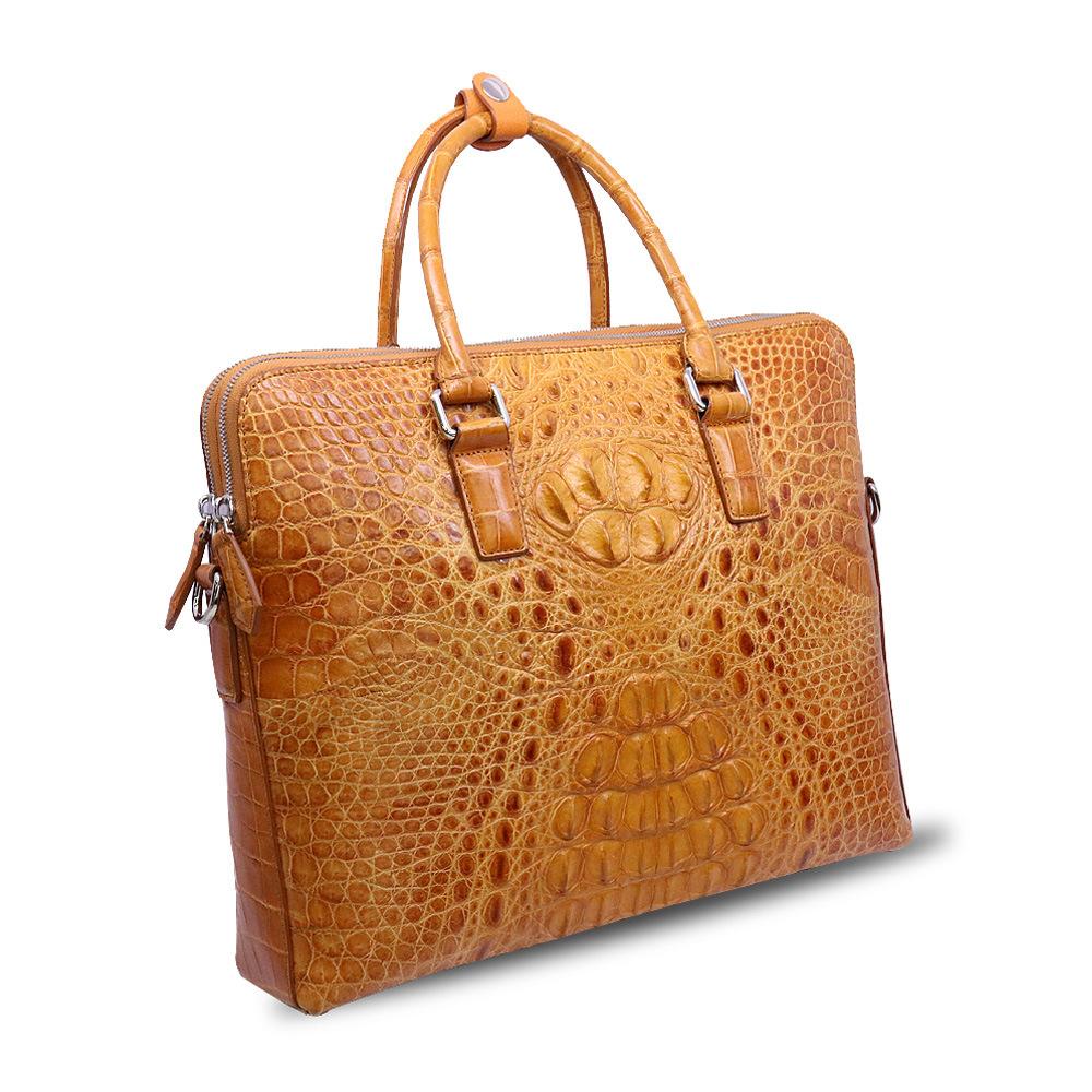 Men Genuine Leather Business Briefcase Crocodile Laptop Bag Computer Briefcase