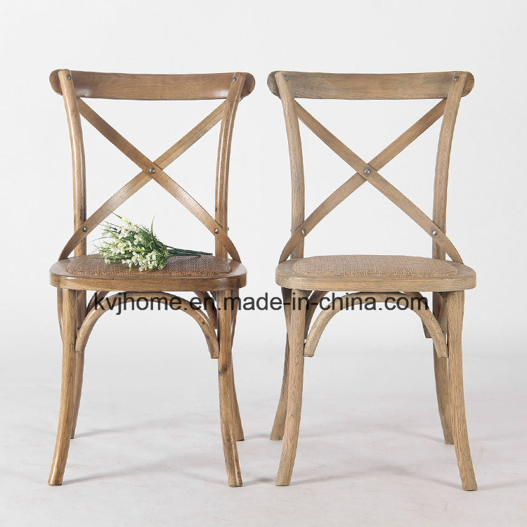 Vintage French Style Restaurant Stackable Cross Back Wood Chair