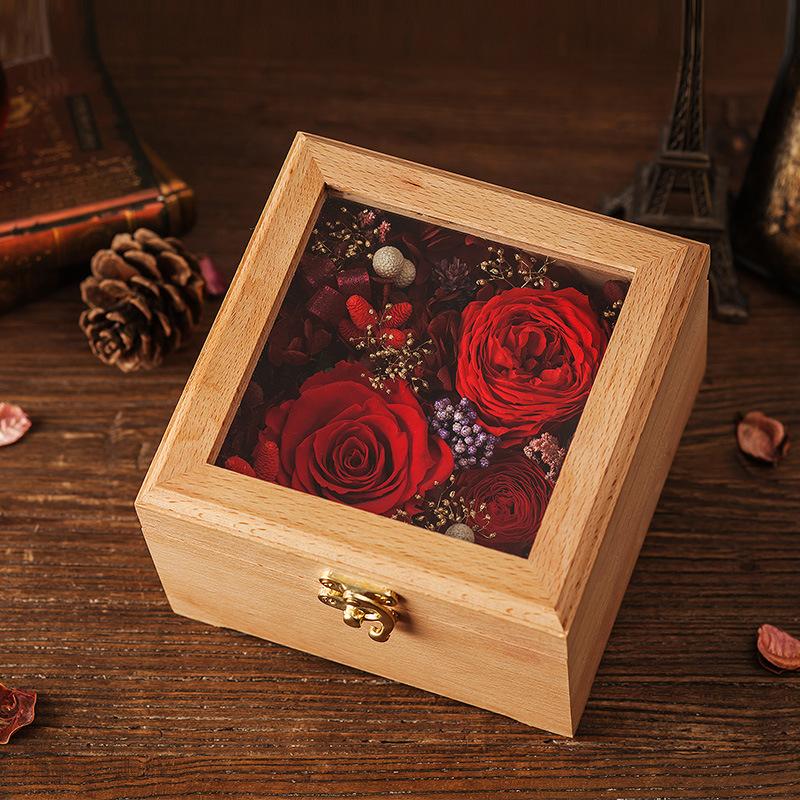 Wooden Flower Gift Box for Valentine′s Day Gift
