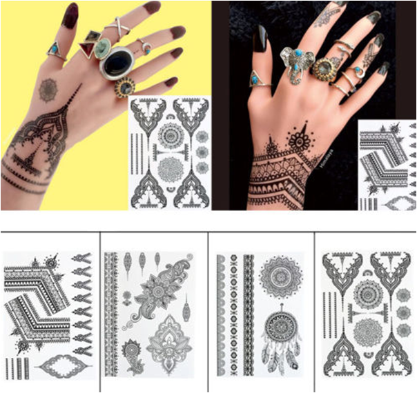 Fashionable Sexy Black Temporary Tattoo Sticker Art Tattoo Sticker
