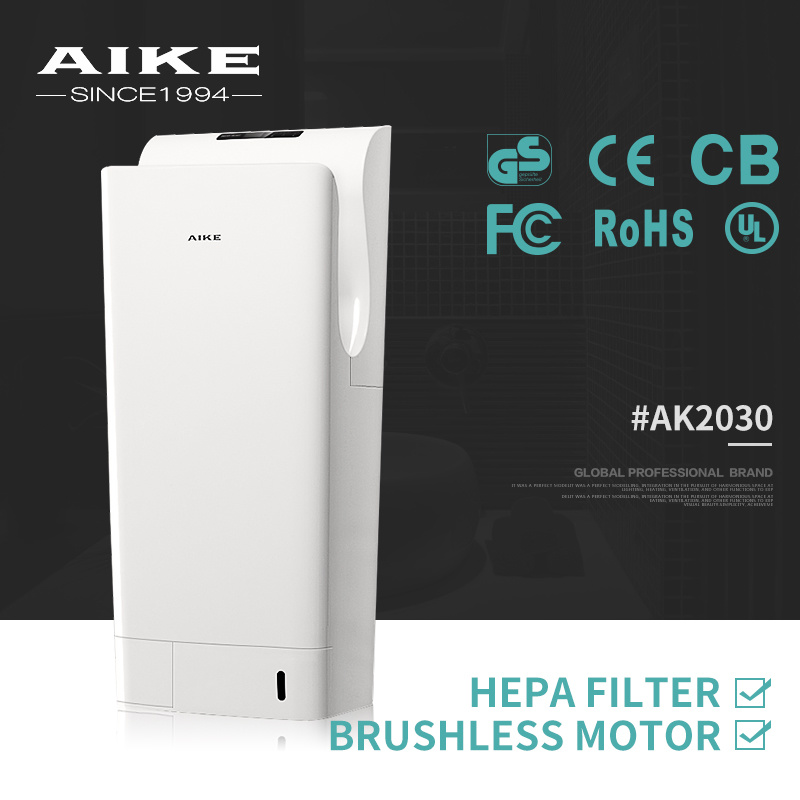 AK2030 ABS Plastic Hotel School Restroom Bathroom Washroom Hygienic Dual Air Jet Hand Dryer