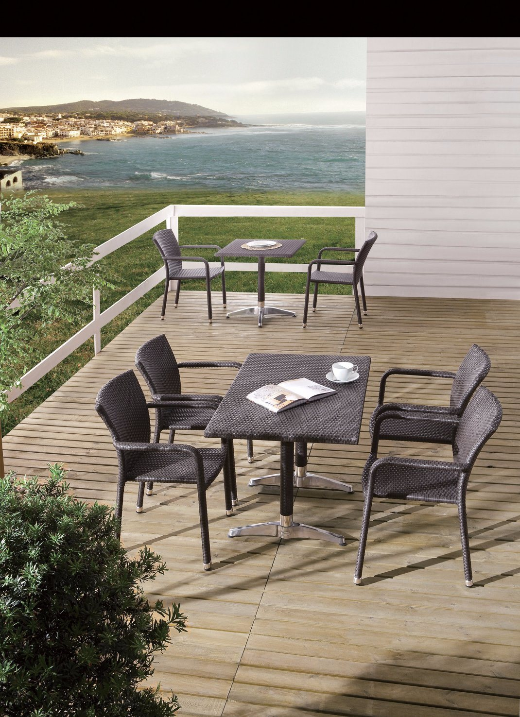 Outdoor Wicker Patio Dining Garden Home Hotel Office Rattan Chair and Table (J374BR)