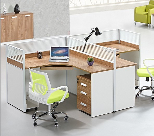 2 Seats L Shape Office Partition Cluster Staff Workstation (HX-NCD327)