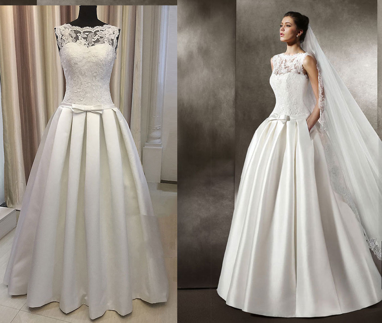 Satin 395 Pleat Floor Length Wedding Dress