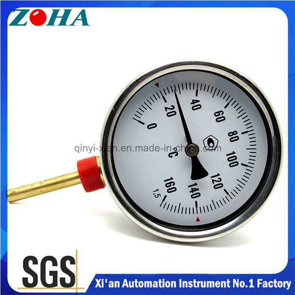Bottom Connection Bi-Metal Thermomter with Brass Thermowell