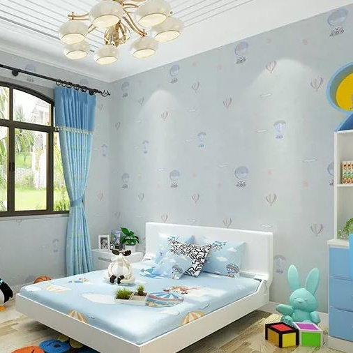 Seamless Modern Children Kids Embossing Wallpaper Fabric Bedroom School Kindergarten