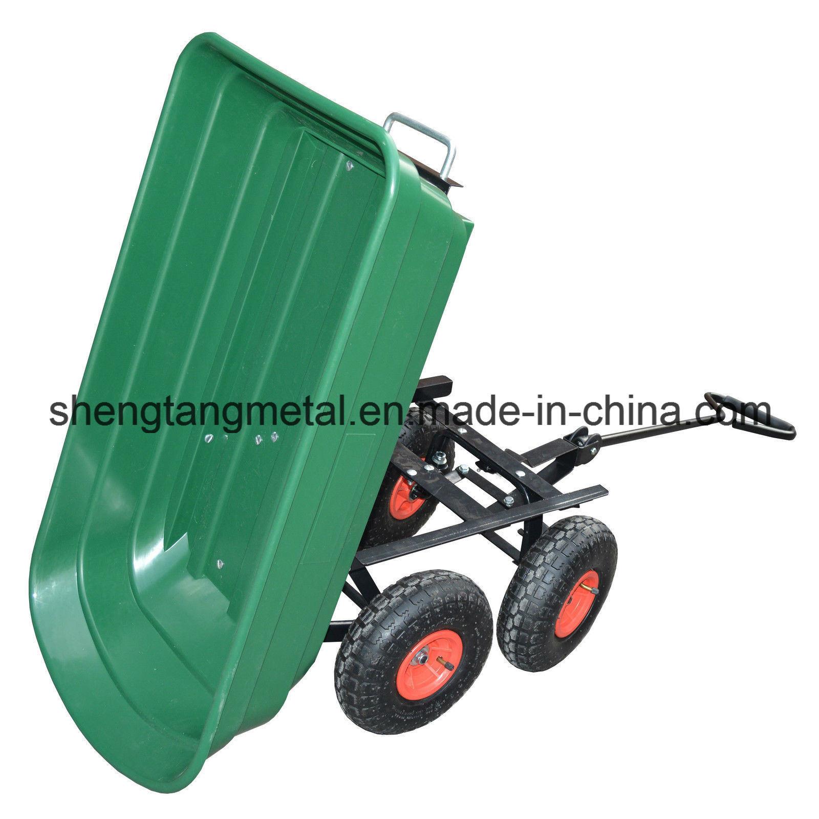 4 Wheel Garden Cart Truck 75L Sack Trolley Wheelbarrow Tipper Tipping Trailer