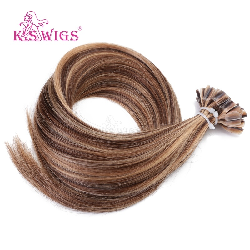 K. S Wigs Discount Price U Tip Hair Nail Hair Extension Brazilian Remy Human Hair P4-27#