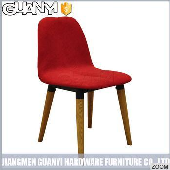 Red Color Modern Wooden Cylindrical Legs Dining Furniture with Backrest