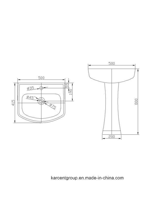 2016 New Design Ce Certification Pedestal Basin 1003