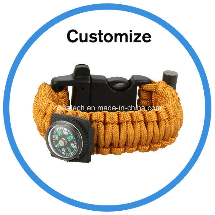 Survival Bracelet with Compass Fire Starter Buckle Light