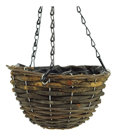 Round Black Rattan Hanging Basket with Chain