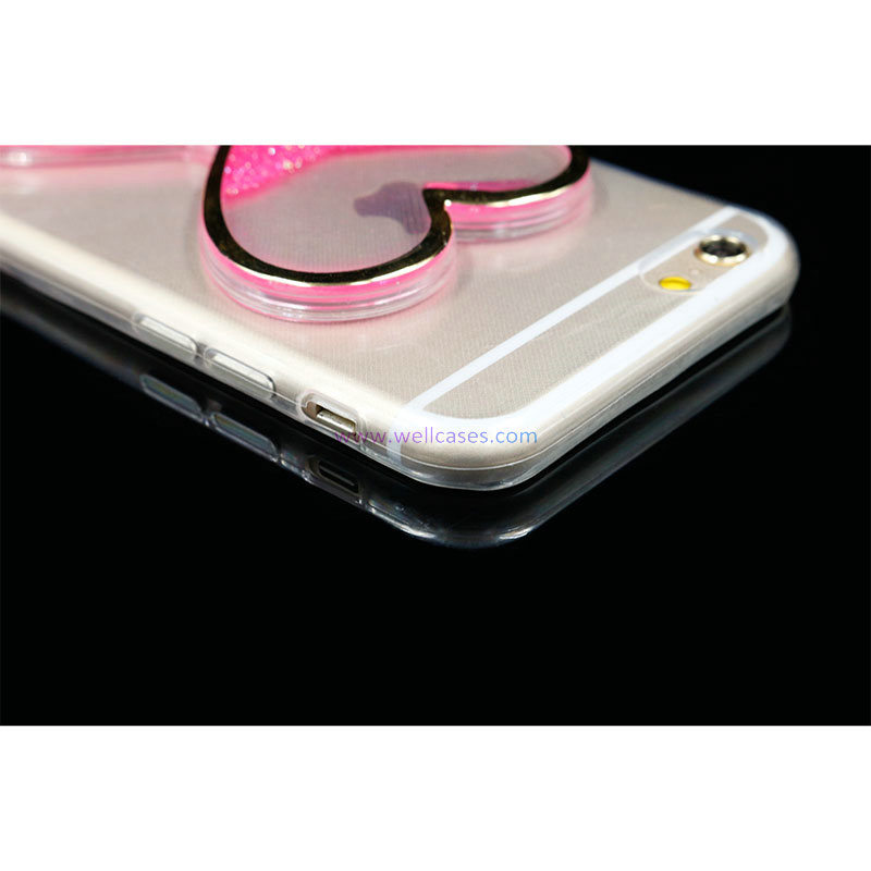 Factory Price Colorful Quick Sand Heart Cell Phone Case for iPhone 5/6