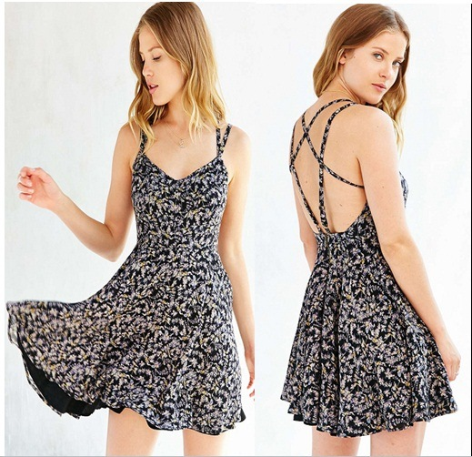 European Latest Sexy Fashion Backless Flower Print Lady Dress